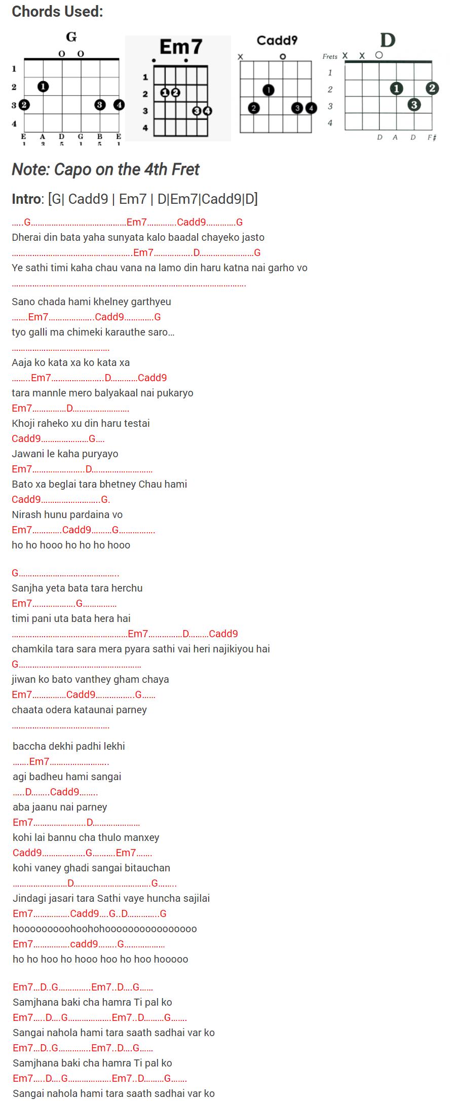 sathi - sushant kc lyrics and guitar chords